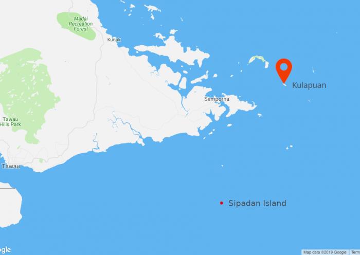 แผนที่เกาะ Kulapuan, Semporna, Sabah, Malaysia